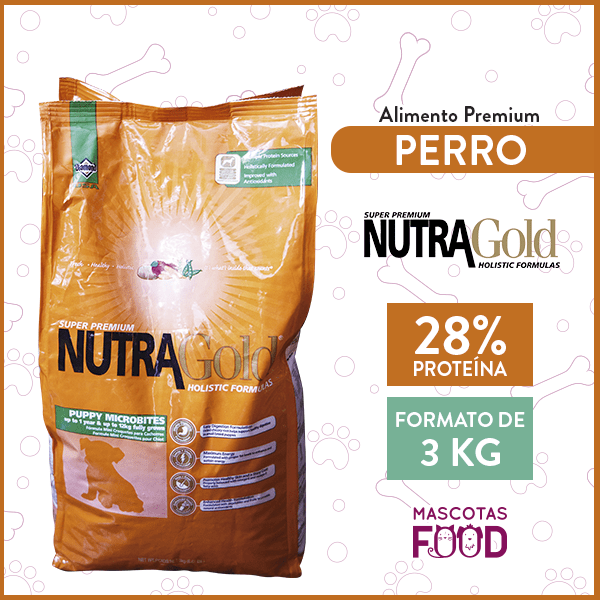 Alimento Perro Cachorros Microbites Nutra Gold Puppy 3 KG 1
