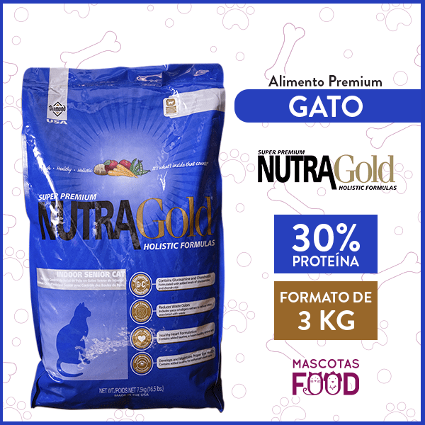 Alimento Gatos Mayores Nutra Gold Senior Cat Pollo y Salmón 3 KG 1