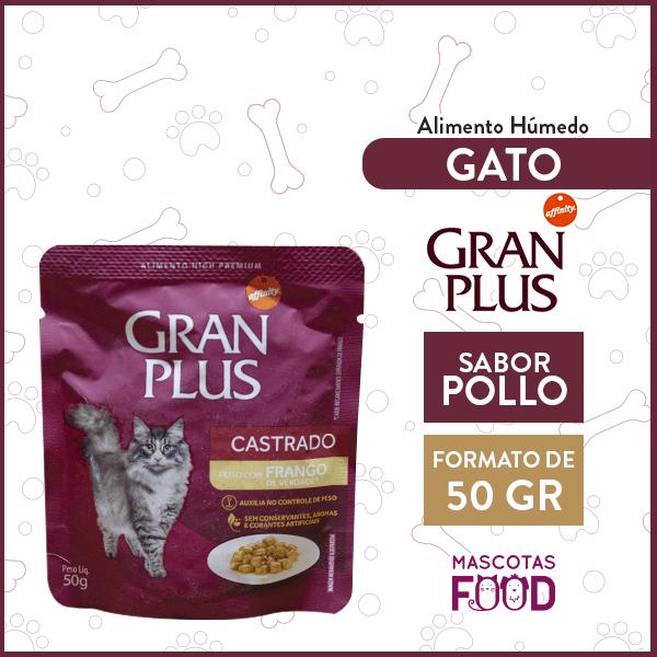 Sachet Alimento Húmedo Gato Castrado Gran Plus Sabor Pollo 50grs. 1