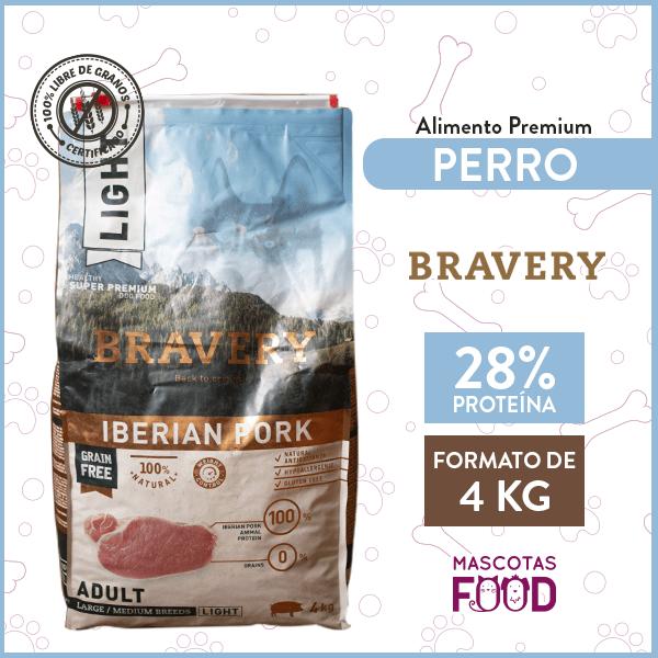 Alimento Perro Razas Medianas y Grandes Bravery Iberian Pork Light 4 KG 1