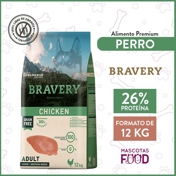 Alimento Perro Raza Grande Bravery Sabor Pollo 12 KG 1