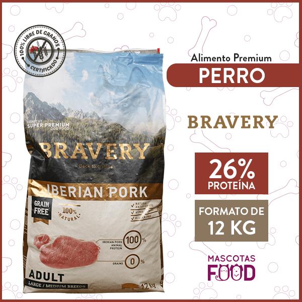 Alimento Perro Adulto Razas Medianas y Grandes Bravery Iberian Pork 12 KG 1