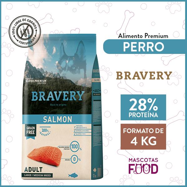 Alimento Perro Raza Medianas y Grandes Bravery Sabor Salmón 4 KG 1