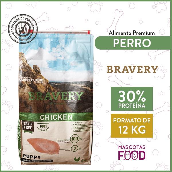 Alimento Cachorro Raza Grande Bravery Sabor Pollo 12 KG 1