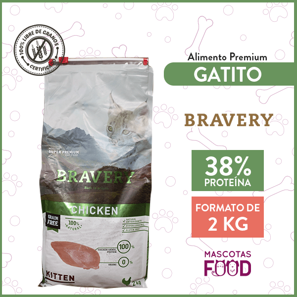 Alimento Gatito Cachorro Bravery Sabor Pollo 2 KG 1