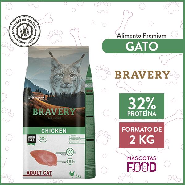 Alimento Gato Adulto Bravery Sabor Pollo 2 KG 1