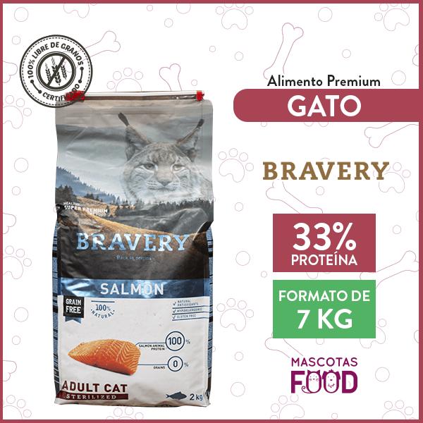 Alimento Gato Adulto Esterilizado Bravery Sabor Salmón 7 KG 1