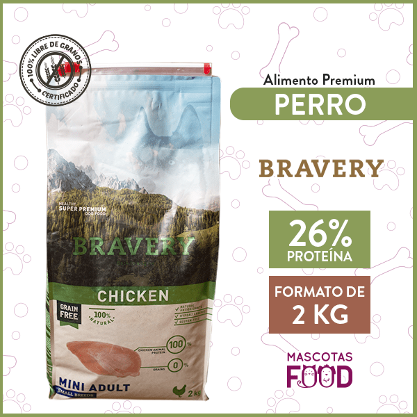 Alimento Perro Raza Pequeña Bravery Sabor Pollo 2 KG 1
