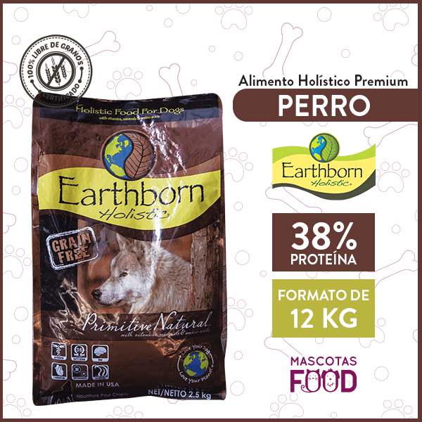 Alimento Perro Cachorro o Adulto Earthborn Primitive Natural 12 KG 1