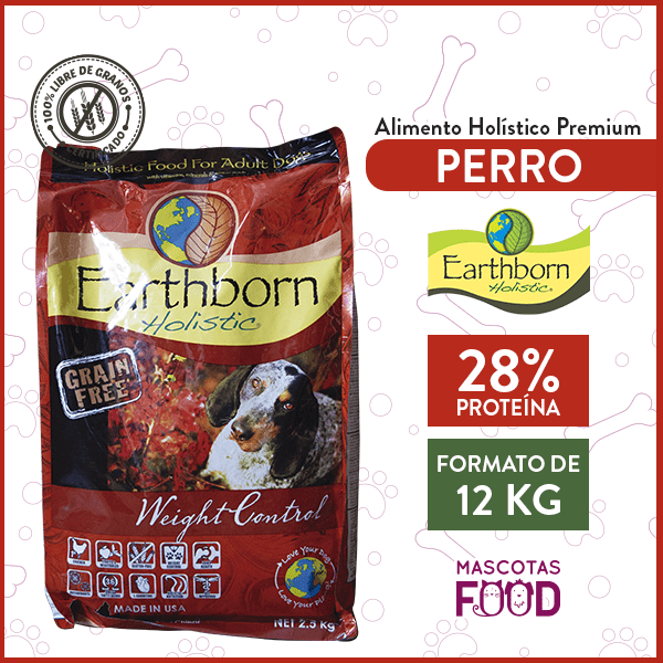 Alimento Perro Adulto Bajo en Grasas Earthborn Weight Control Sabor Pollo 12 KG 1