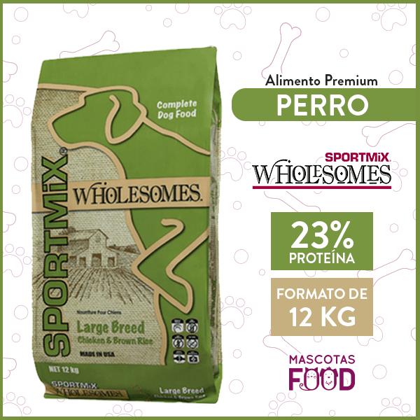 Alimento Perro Raza Grande Alta Energía Sport Mix Wholesomes Sabor Arroz y Pollo 12 KG 1