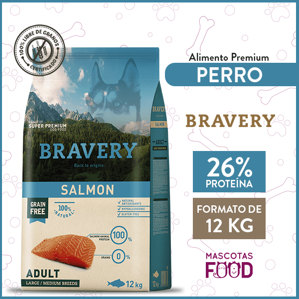 Alimento Perro Raza Grande Bravery Sabor Salmon 12 KG 1