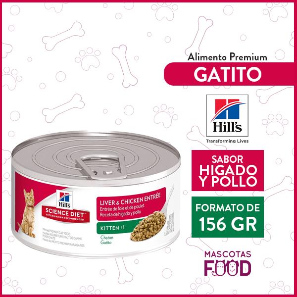 Alimento húmedo Gatito  Hill's sabor Higado y Pollo 156grs. 1