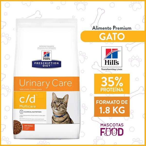 Alimento Gato C/D Cuidado Urinario HILLS sabor Pollo 1.8 KG 1