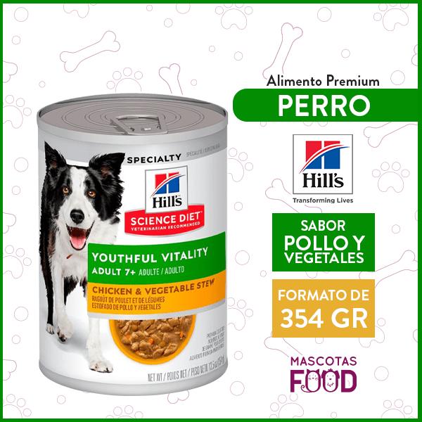 Alimento húmedo para Perro Adulto 7+ Hill's sabor Pollo y Verduras 354grs. 1