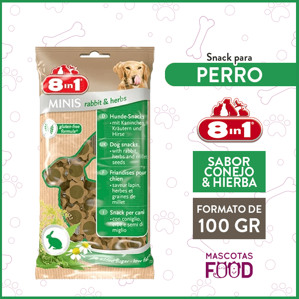 Snack para Perro 8 en 1 Sabor Conejo y Hierbas 100GRS. 1