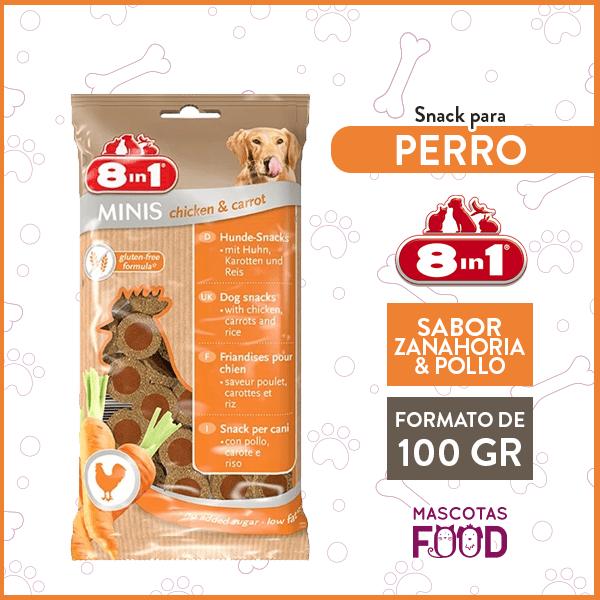Snack para Perro 8 en 1 Sabor Zanahoria y Pollo 100GRS. 1