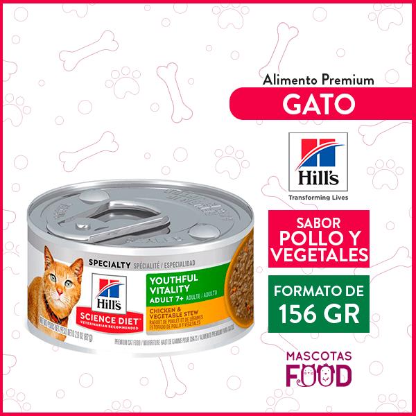 Alimento húmedo Gato Adulto 7+ Hill's sabor Pollo y Vegetales 156grs. 1