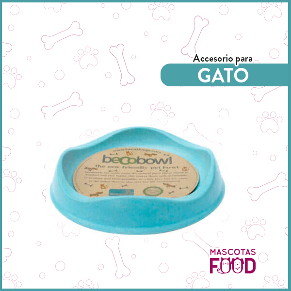 Plato Azul Biodegradable BECOBOWL especial para Gatos 1