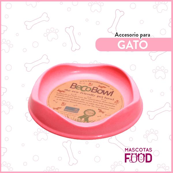Plato rosado Biodegradable BECOBOWL especial para Gatos 1