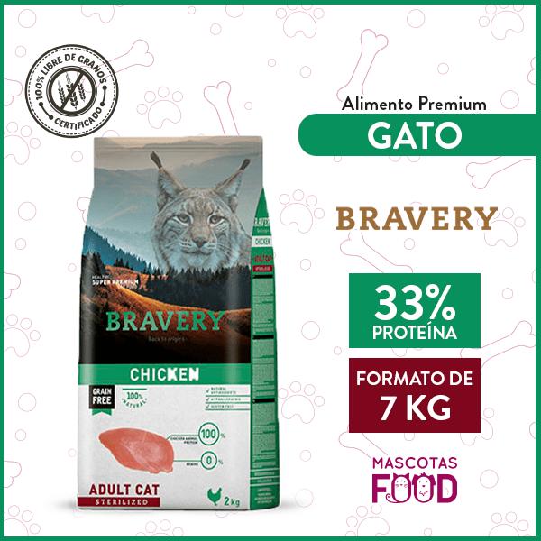 Alimento Gato Adulto Esterilizado Bravery Sabor Pollo 7 KG 1