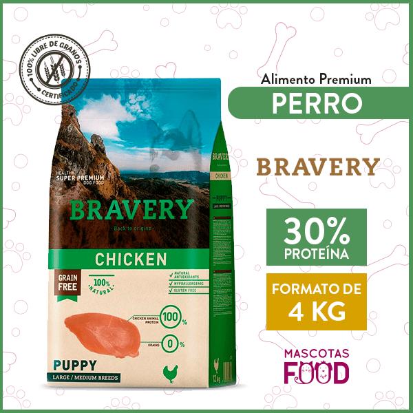 Alimento Cachorro Raza mediana y grande Bravery Sabor Pollo 4 KG 1