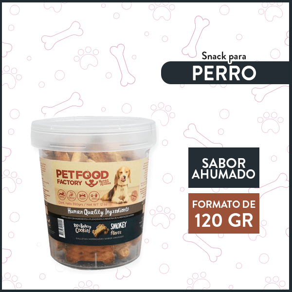 Galleta Hueso Sabor Ahumado PETFOOD FACTORY 120 Gr. 1