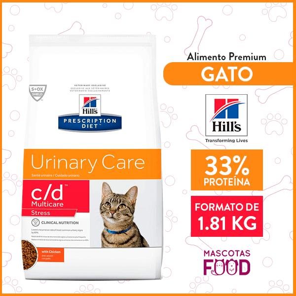 Alimento Gato C/D Multicare Estrés Cuidado urinario HILLS sabor Pollo 1.81 KG 1