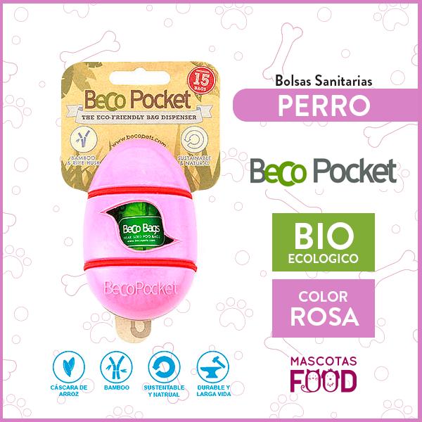 Dispensador de bolsas degradable Beco Pocket Rosado + 15 Bolsas 1