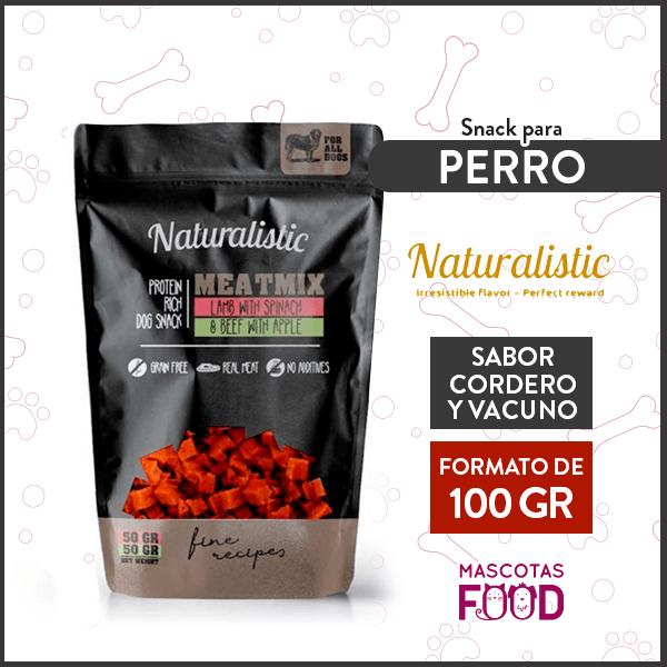 Snack para Perro Naturalistic sabor Cordero con Espinaca y Vacuno con Manzana 100grs. 1