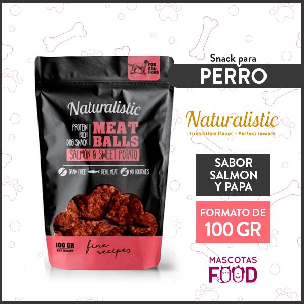 Snack para Perro Naturalistic sabor Salmon y Papa dulce 100grs. 1