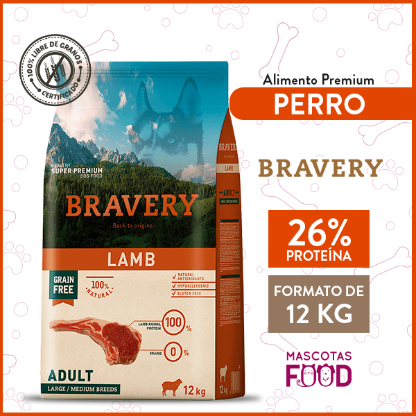 Alimento Perro Razas Medianas y Grandes Bravery Sabor Cordero 12 KG 1