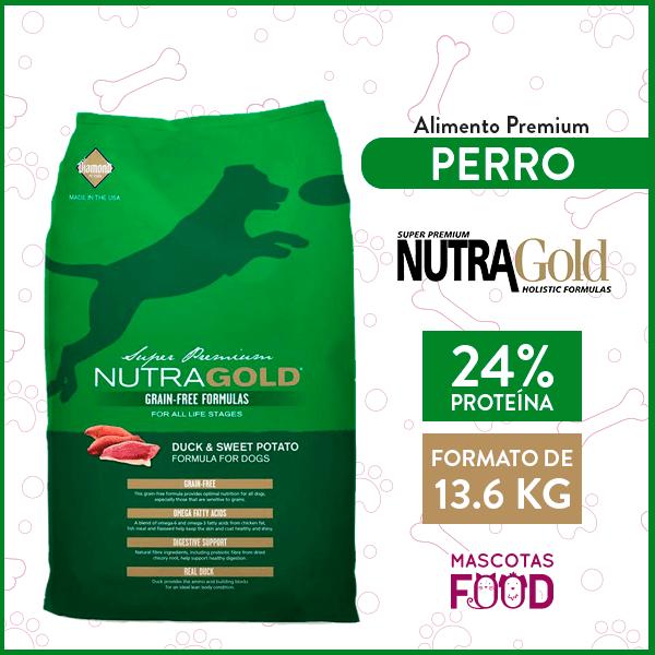 Alimento Perro Adulto Nutra Gold Libre de Granos Sabor Pato 13.6 KG 1