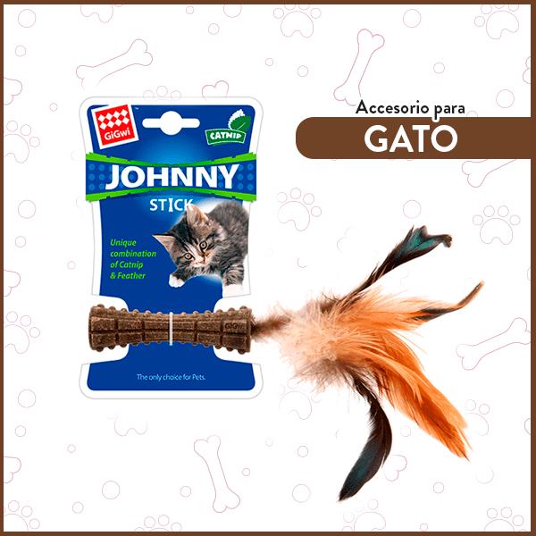 Juguete para Gatos Johnny Stick catnip con una pluma natural café GiGwi 1