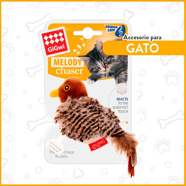 Pájaro para gatos con sonido y pluma GiGwi 1