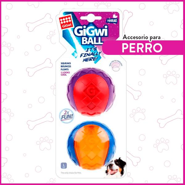 Set 2 pelotas Squeaker para perros tamaño L GiGwi 1